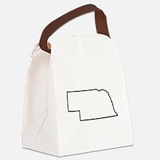 Nebraska State Outline Canvas Lunch Bag