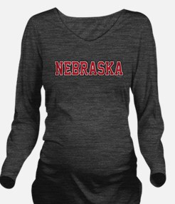 Nebraska Jersey Red Long Sleeve Maternity T-Shirt