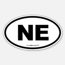 Nebraska NE Euro Oval Sticker (Oval)