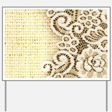 country beige burlap lace Yard Sign