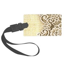 country beige burlap lace Luggage Tag