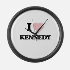 I Love Kennedy Large Wall Clock