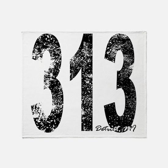Detroit Area Code 313 Throw Blanket