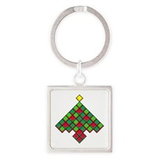 xmas quilt treesave nb black clear Square Keychain
