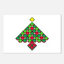xmas quilt treesave black Postcards (Package of 8)