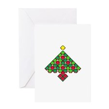 xmas quilt treesave black clear Greeting Card