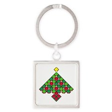 xmas quilt treesave black clear Square Keychain
