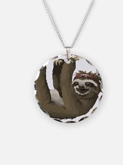 skull sloth Necklace Circle Charm