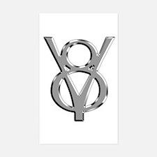 V8 Chrome Rectangle Decal