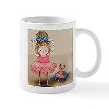 Girl Ballet Dancing and Teddy Illustration Mugs