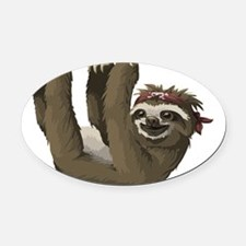 skull sloth Oval Car Magnet