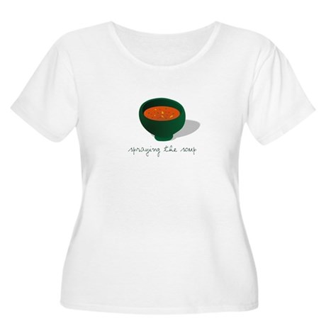 Spraying the Soup Women's Plus Size Scoop Neck T-S