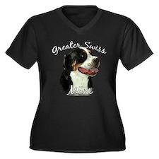 Swissy Mom2 Women's Plus Size V-Neck Dark T-Shirt