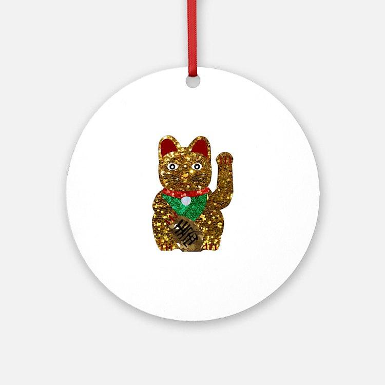 maneki neko cat Round Ornament