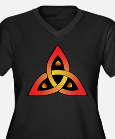 Red and Yellow Celtic Trinity Knot Plus Size T-Shi