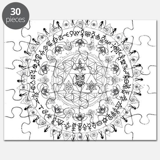 Everything Mandala - 3rd eye, owl, triangle, lotus