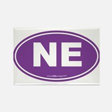 Nebraska NE Euro Oval PURPLE Rectangle Magnet