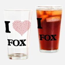 Cute I heart fox Drinking Glass