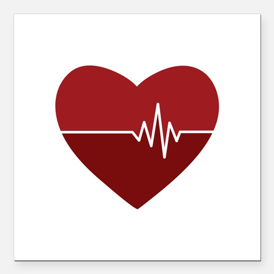 "Heartbeat Square Car Magnet 3"" x 3"""