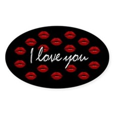 I Love You Kisses Oval Decal