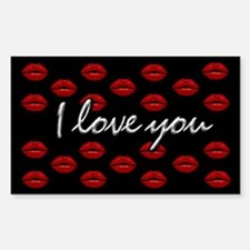 I Love You Kisses Rectangle Decal