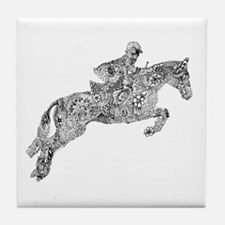 Horse Jumping Doodles Tile Coaster