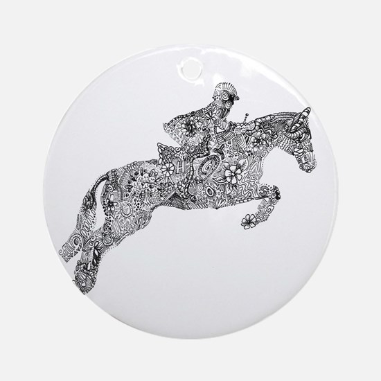 Horse Jumping Doodles Round Ornament