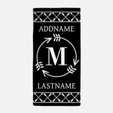 Elegant Black and White Monogram With Beach Towel