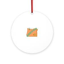Beaver State Oregon Round Ornament