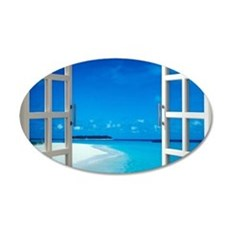 Open Window With Ocean View Wall Sticker