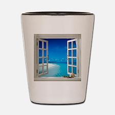 Open Window With Ocean View Shot Glass