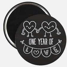 1st Anniversary Chalkboard Hearts Magnet