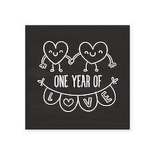 "1st Anniversary Chalkboard Square Sticker 3"" x 3"""