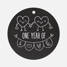 1st Anniversary Chalkboard Hearts Round Ornament