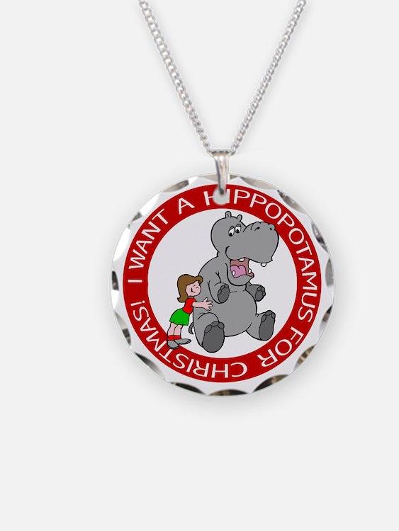 Hippopotamus for Christmas Necklace