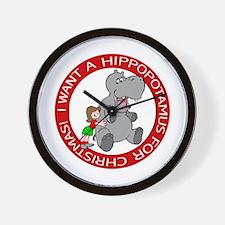 Hippopotamus for Christmas Wall Clock