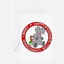 Hippopotamus For Christmas Greeting Greeting Cards