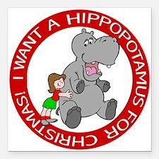 """Hippopotamus for Christm Square Car Magnet 3"""" x 3"""""""