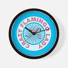 Crazy Flamingo Lady Wall Clock