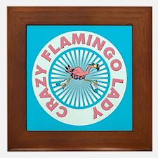 Crazy Flamingo Lady Framed Tile