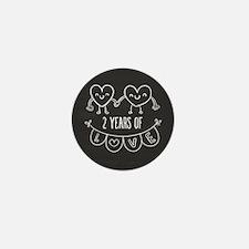 2nd Anniversary Gift Chalkboard Hearts Mini Button