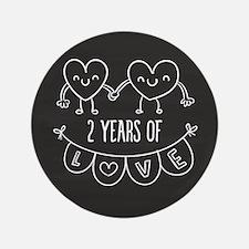 2nd Anniversary Gift Chalkboard Hearts Button