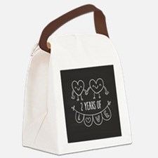 2nd Anniversary Gift Chalkboard H Canvas Lunch Bag