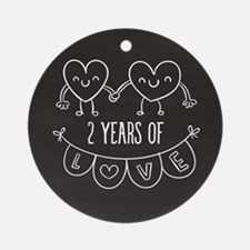 2nd Anniversary Gift Chalkboard Hea Round Ornament