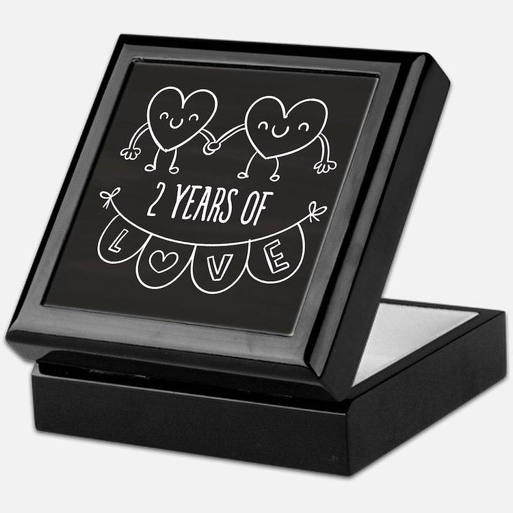 2nd Anniversary Gift Chalkboard Heart Keepsake Box
