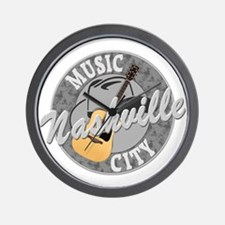 Nashville Music City-08-DK Wall Clock