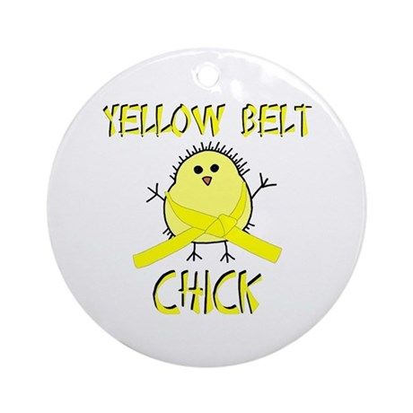 Yellow Belt Chick Ornament (Round)