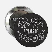 "7th Anniversary Gift Chalkboard Heart 2.25"" Button"