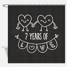 7th Anniversary Gift Chalkboard Hea Shower Curtain