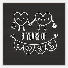 9th Anniversary Gift Chalkb 5.25 x 5.25 Flat Cards